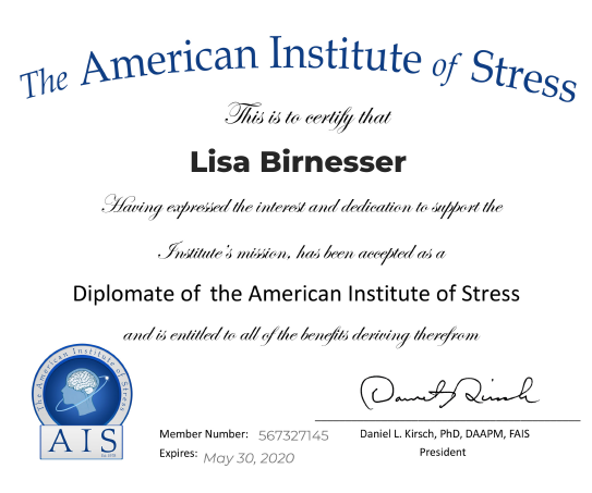 The American Institute of Stress Certificate
